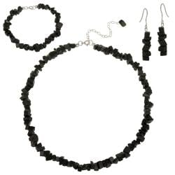 Glitzy Rocks Sterling Silver Onyx Chip Jewelry Set