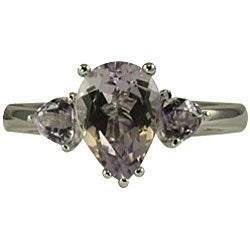 Gems For You Sterling Silver Pink Amethyst 3-stone Ring (Size 7) - Thumbnail 1