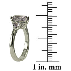 Gems For You Sterling Silver Pink Amethyst 3-stone Ring (Size 7) - Thumbnail 2