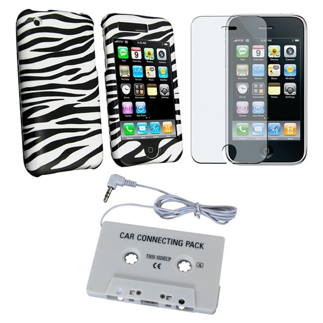 3-piece Zebra Case with Cassette Adapter for Apple iPhone 3GS/ 3G