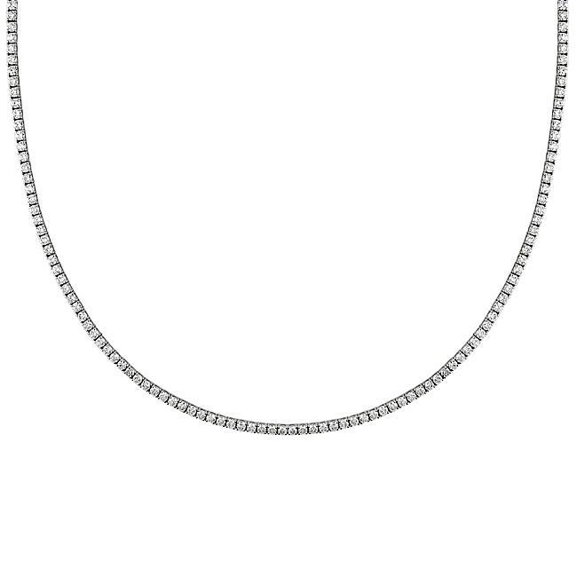 Miadora Signature Collection 18k White Gold 32 1/10ct TDW Diamond Tennis Necklace