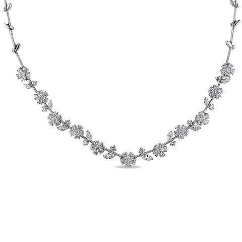 Miadora Signature Collection 18k White Gold 13 1/4ct TDW Diamond Necklace