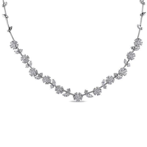 Miadora Signature Collection 18k White Gold 13 1/4ct TDW Diamond Necklace