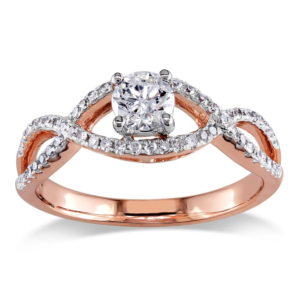 Miadora Signature Collection 14k Rose Gold 3/4 CT TDW Diamond Ring