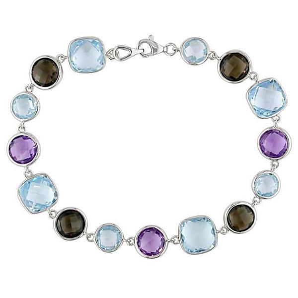 Miadora Gems Sterling Silver Amethyst, Quartz and Blue Topaz Bracelet