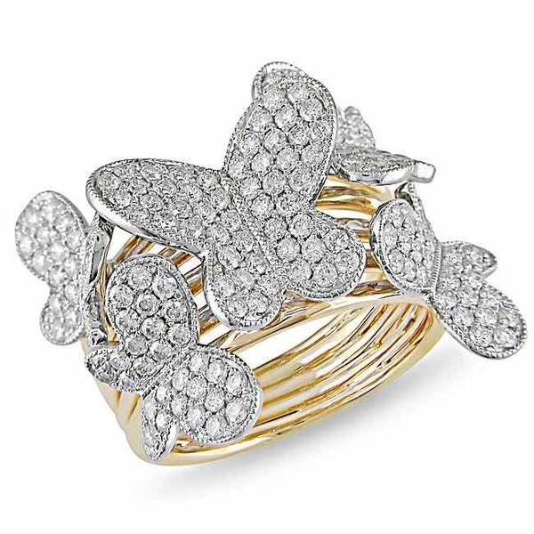 Miadora 18k Two-tone Gold 1 1/2ct TDW Diamond Butterfly Ring (G-H, SI1-SI2)