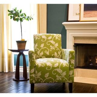 Handy Living Sutton Spring Leaf and Cream Vine Arm Chair