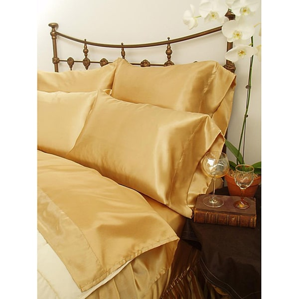 Charmeuse Gold Satin 4-piece Queen-size Comforter Set