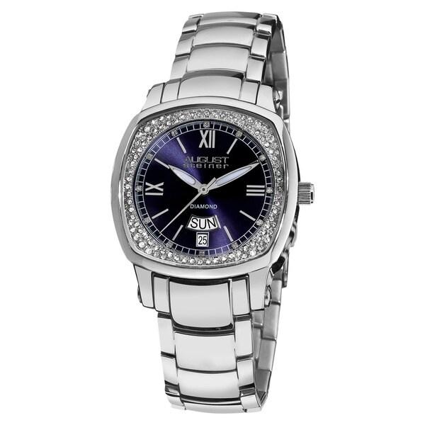 August Steiner Women's Day Date Diamond Stainless Steel Blue Watch