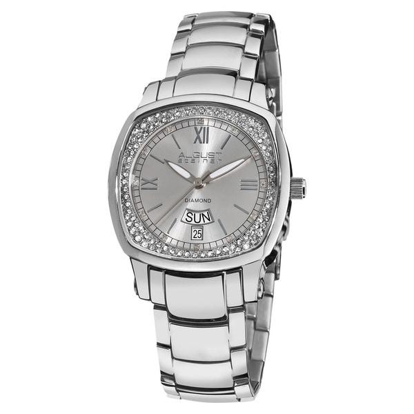 August Steiner Women's Day Date Diamond Steel Bracelet Watch