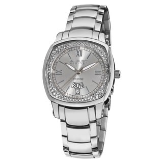 August Steiner Women's Day Date Diamond Steel Silver-Tone Bracelet Watch