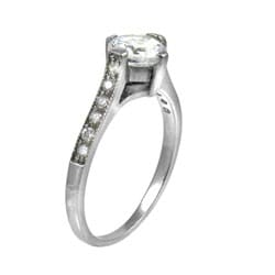 Stainless Steel Cubic Zirconia Cathedral Engagement Ring - Thumbnail 1