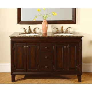 Shop silkroad exclusive alameda 55 inch double sink dark brown bathroom vanity free shipping for 55 inch double sink bathroom vanity