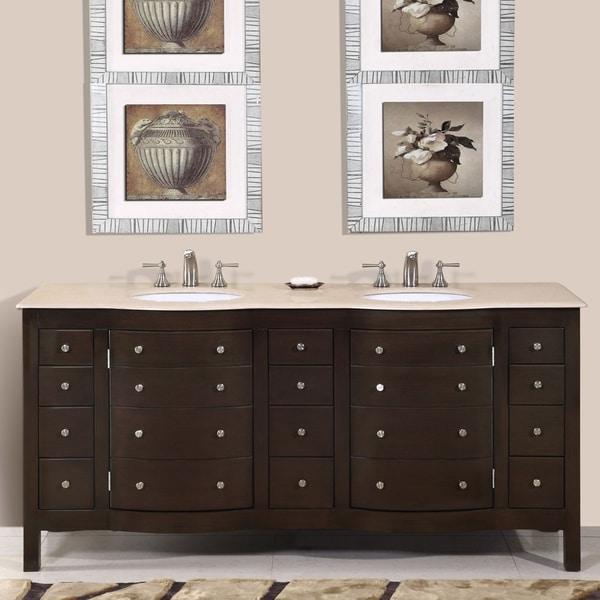 Silkroad Exclusive Pomona 72 Inch Double Sink Bathroom Vanity