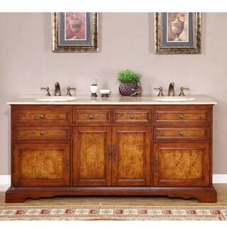 Silkroad Exclusive Watsonville 72 Inch Double Sink Bathroom Vanity