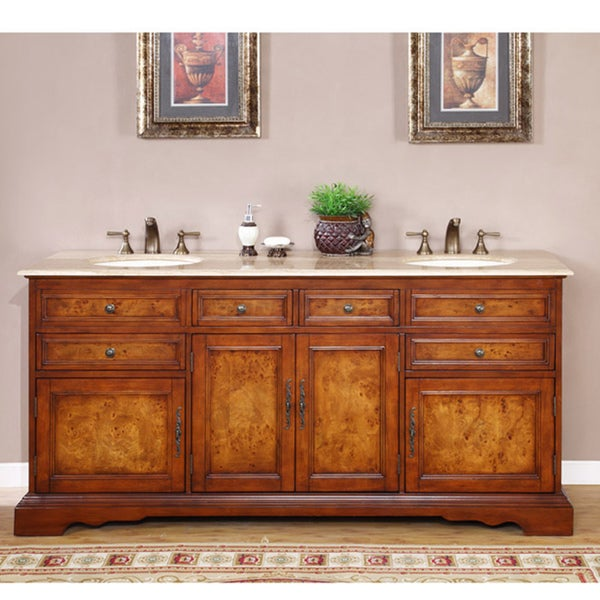 Shop silkroad exclusive watsonville 72 inch double sink bathroom vanity free shipping today for 65 inch double bathroom vanity