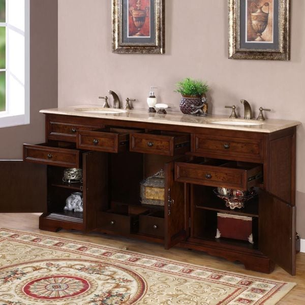72 Medium Wood Silkroad Exclusive Travertine Stone Top Double Sink Bathroom Vanity With With Bath Cabinet Bathroom Fixtures Tools Home Improvement Fcteutonia05 De