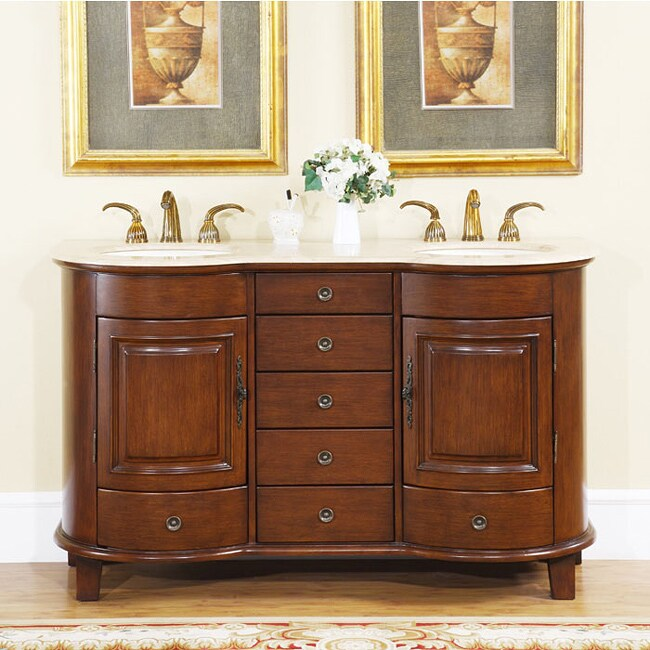 Shop Silkroad Exclusive Gualala 59 Inch Double Sink Bathroom Vanity Free Shipping Today