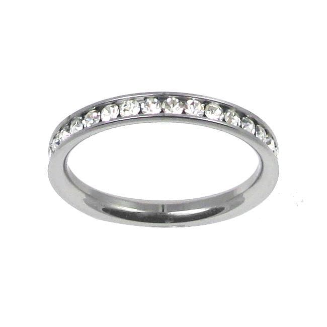 Stainless Steel Stackable Cubic Zirconia Eternity Band - Thumbnail 0