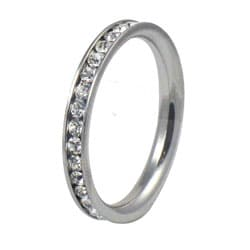 Stainless Steel Stackable Cubic Zirconia Eternity Band - Thumbnail 1