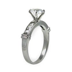 Stainless Steel Cubic Zirconia Engagement Ring - Thumbnail 1
