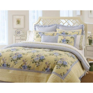 laura ashley caroline 4 piece queen size comforter set. Black Bedroom Furniture Sets. Home Design Ideas
