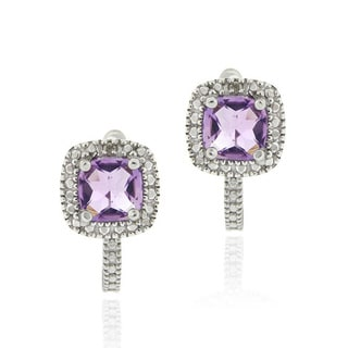 Glitzy Rocks Sterling Silver 1 3/5ct TGW Gemstone and Diamond Square Earrings