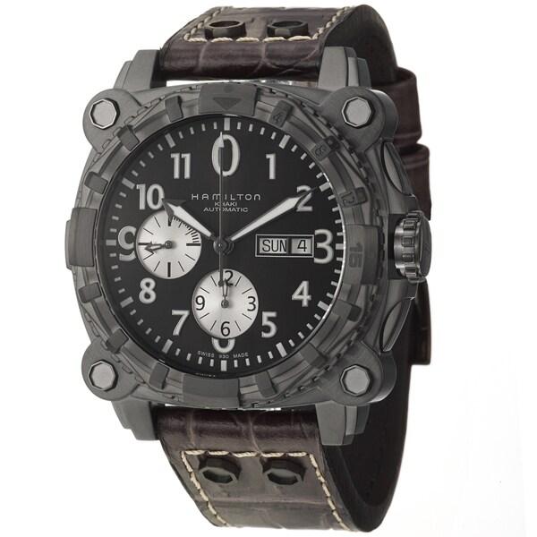 Hamilton Men's 'Khaki Navy' Black Steel and Leather Automatic Watch