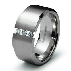 Stainless Steel Men's Cubic Zirconia Wide Ring - Thumbnail 1