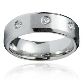 Men's Satin-Finished Stainless-Steel Cubic Zirconia Ring
