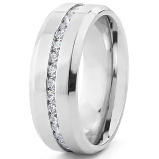 stainless steel mens cubic zirconia ring - Stainless Steel Wedding Ring