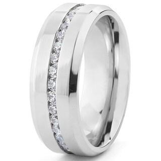 Stainless Steel Menu0027s Cubic Zirconia Ring
