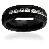 Black Stainless Steel Men's Cubic Zirconia Ring