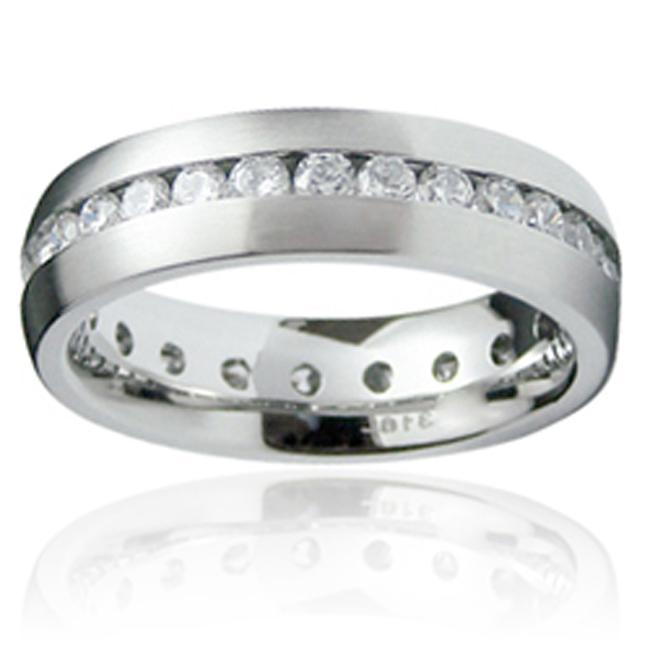 Stainless Steel Men's Cubic Zirconia Eternity Ring