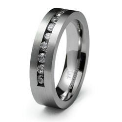 Men's Stainless-Steel Cubic Zirconia Ring - Thumbnail 1