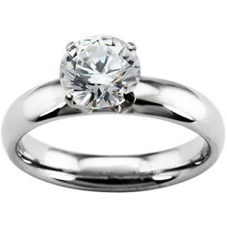 Stainless Steel Cubic Zirconia Solitaire Ring - Silver