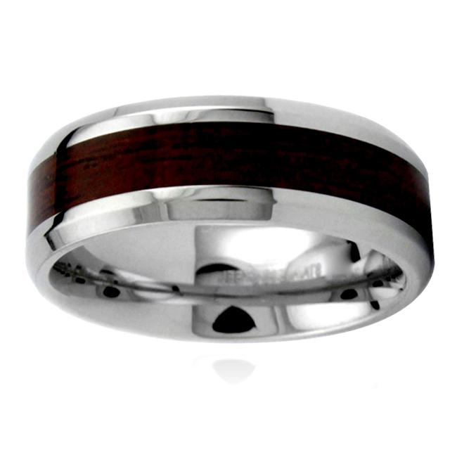 Stainless Steel Men's Wood Inlay Ring