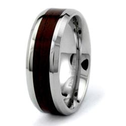 Stainless Steel Men's Wood Inlay Ring - Thumbnail 1