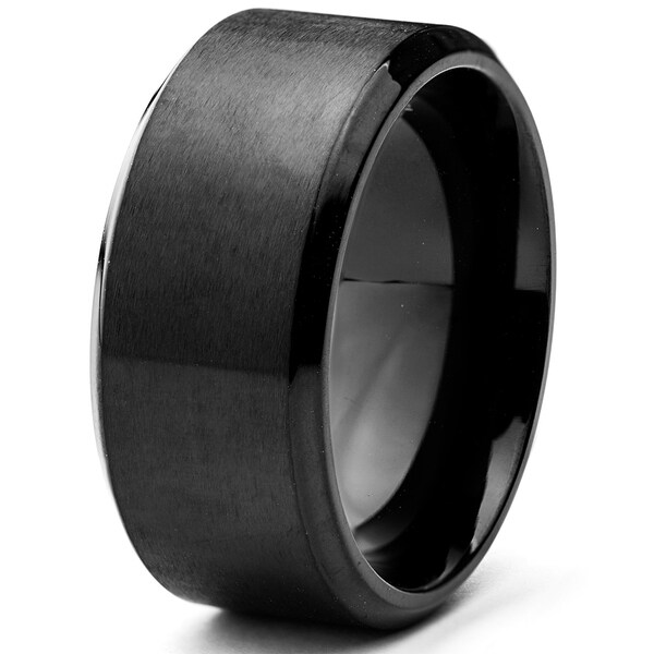 21b5422585231 Shop Black Plated Stainless Steel Wide Band Ring (10mm) - Free ...