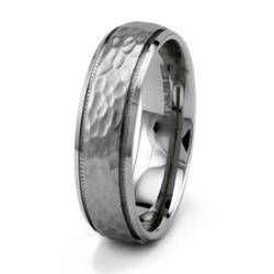 Stainless Steel Men's Hammered Ring