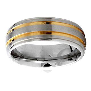 Two-tone Stainless Steel Men's Groove Ring (5 options available)