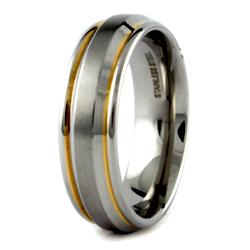 Two-tone Stainless Steel Men's Half Domed Ring