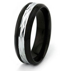 Two-Tone Blackplated Stainless Steel Men's Ring - Thumbnail 1