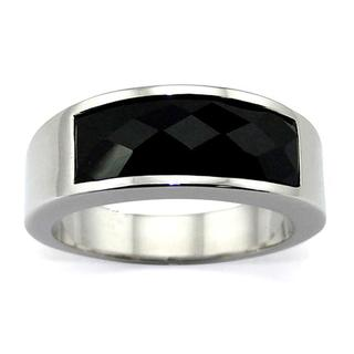 Stainless Steel Black Inlay Cocktail Ring