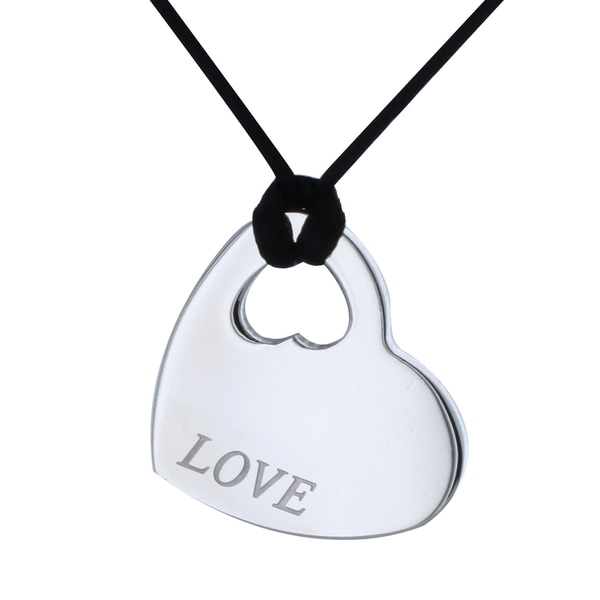 West Coast Jewelry Silvertone Stainless-steel 'LOVE' Heart Necklace with Silk Cord