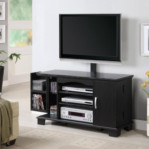 Shop Black Wood 42 Inch Tv Stand With Mount Free Shipping Today