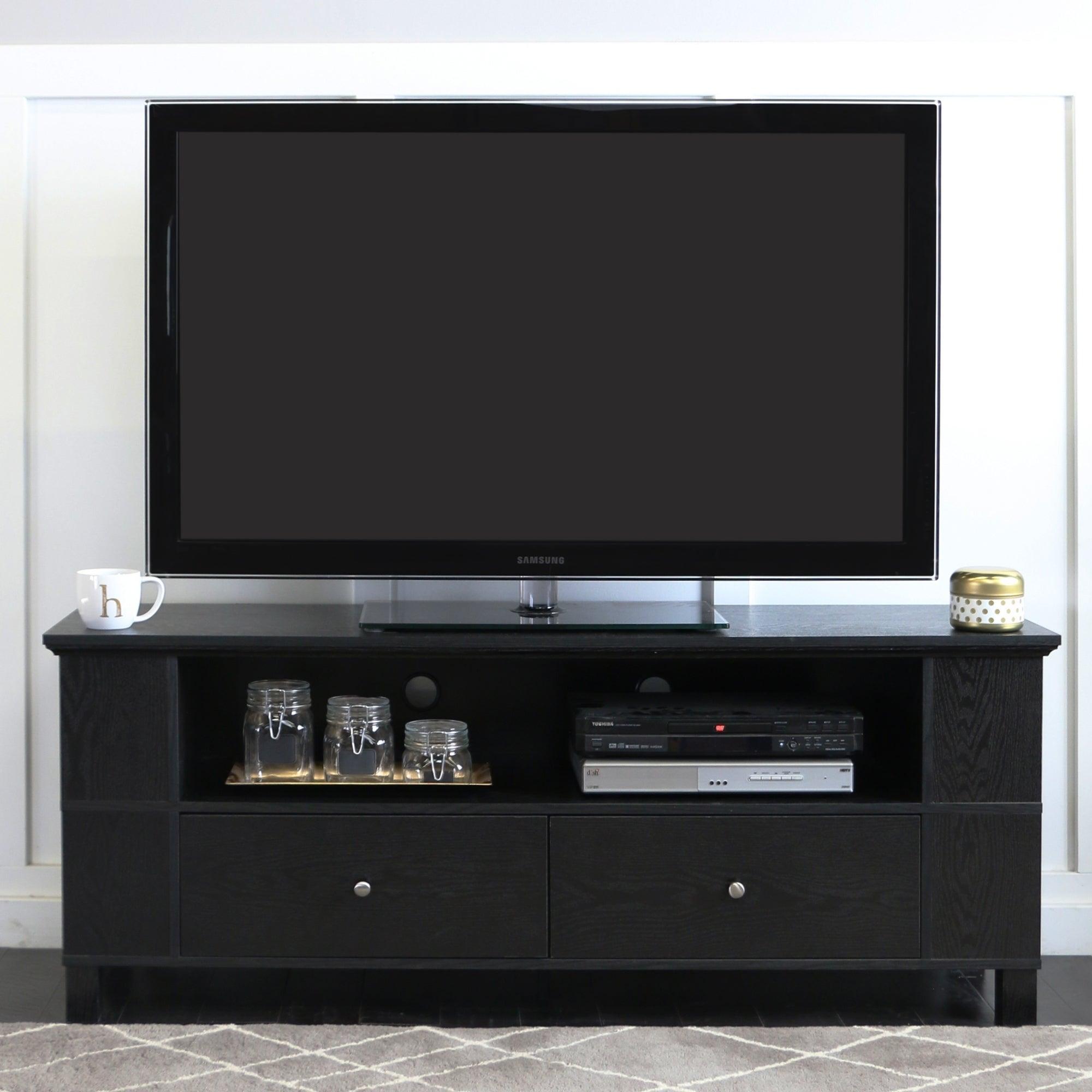 59 Tv Stand Storage Console Black 60 X 16 X 23h 812492014881 Ebay