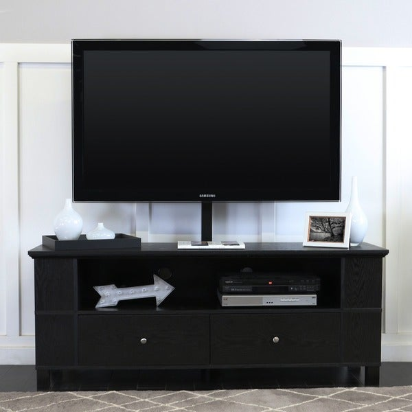 Shop 59 Tv Stand Storage Console With Mount Black 60 X 16 X 23h