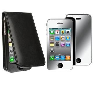 BasAcc Black Leather Case/ Mirror Screen Protector for Apple iPhone 4