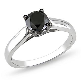 Miadora Sterling Silver 1ct TDW Black Diamond Solitaire Ring